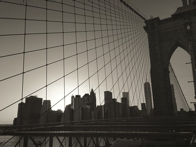 Sunset Over the Brooklyn Bridge and Lower Manhattan - BW
