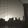 Sunset Over the Brooklyn Bridge and Lower Manhattan - BW
