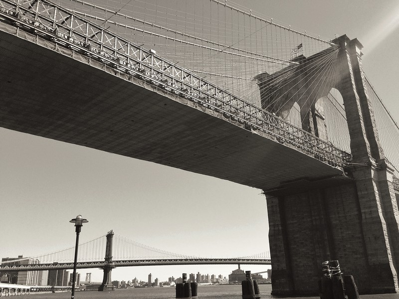 Brooklyn and Manhattan Bridges - BW View from Below