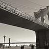 Brooklyn and Manhattan Bridges - BW View from Below