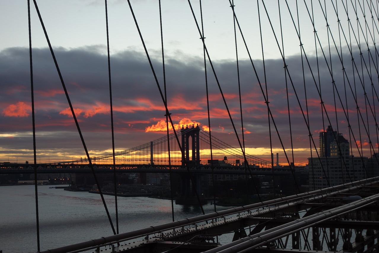 Sunrise Over Brooklyn & Manhattan Bridges