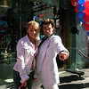 In front of Planet Hollywood with a John Travolta impersonator (Grease).