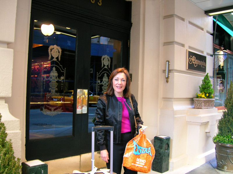 Casey took this picture of me as we waited outside the hotel to head back home to Springfield. As you can see, our shopping included  the shops in Soho.