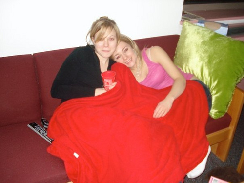 Leila Casey, My Couch, Freshmen Yr. - My suitemate freshmen year, Leila, with Casey on my couch freshmen year.