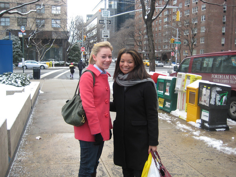 "08'  - Junior year with Kelsey. Taken by mom just outside of Fordham with the Fordham ""ramvan"" parked on the street."