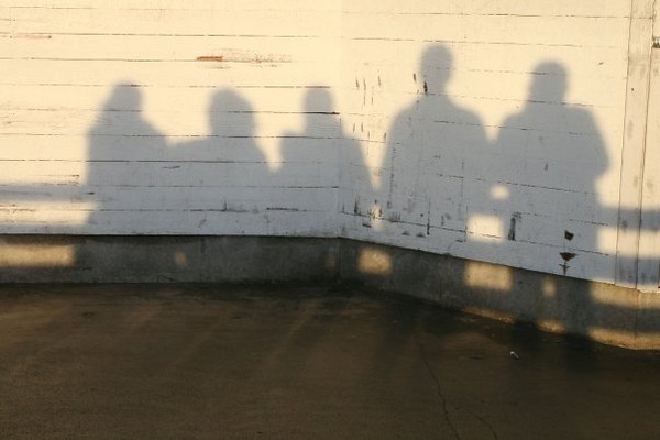 Craig: Our shadows at sunset down at Fisherman's Wharf. It was freezing that night!