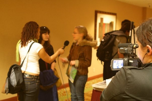"""Gabrielle Linzer: """"Casey & I being interviewed at the conference in SF""""<br /> <br /> Craig: """"I remember them being interviewed by another college newspaper. When they asked, Casey was excited to volunteer."""""""