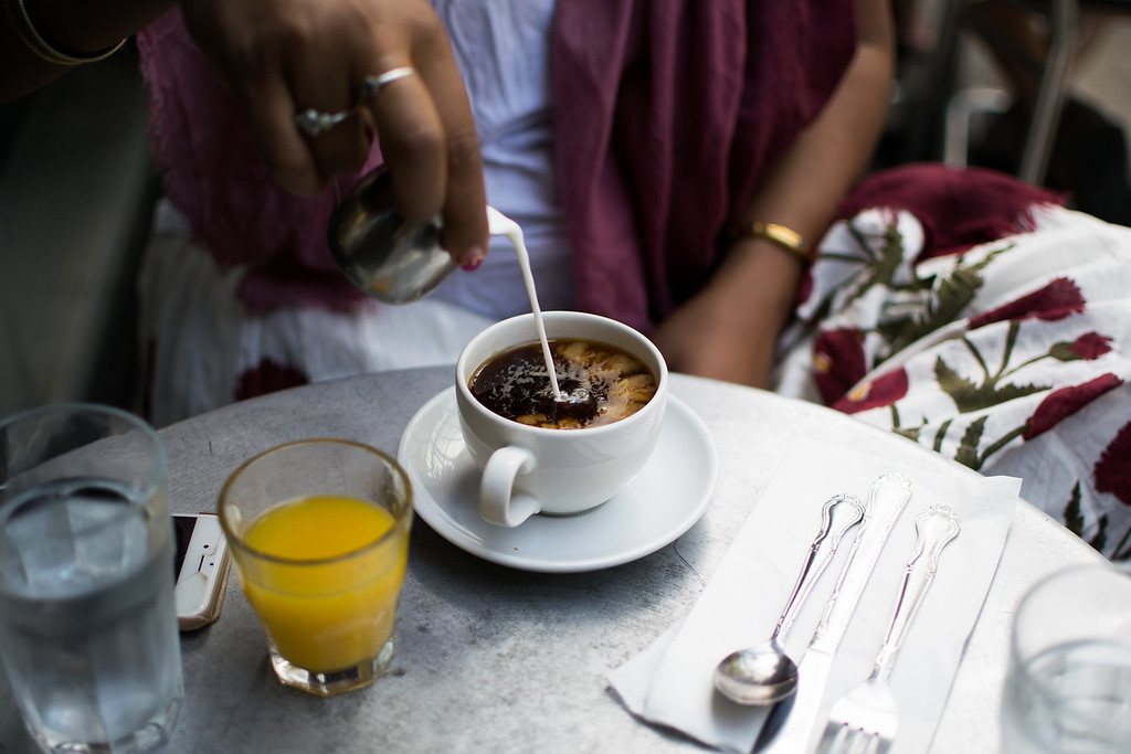 milk in coffee at Cafe Orlin