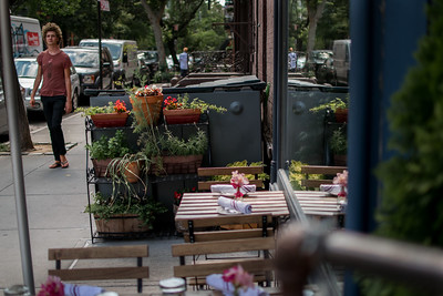 Outdoor seating at Monument Lane