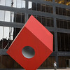 ORIGINAL Noguchi Red Cube Sculpture on Broadway