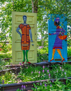 Painted doors along the Hudson Yards highline--I assume this is art?