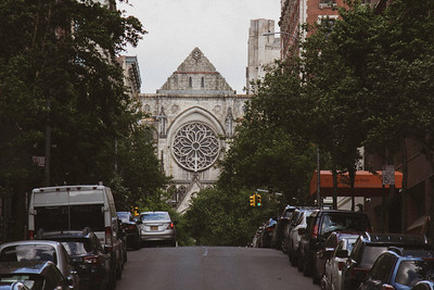 Looking down 110th St towards St. John the Divine