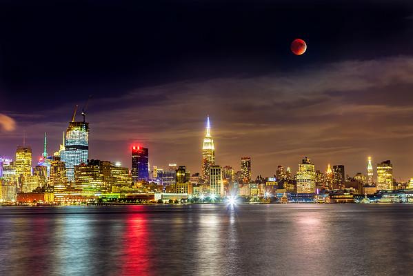 Supermoon Lunar Eclipse over Manhattan