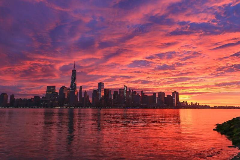 Fire Sky Sunrise over New York City