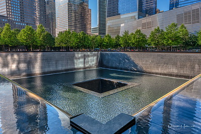 Throngs of visitors admire the 9/11 Memorial