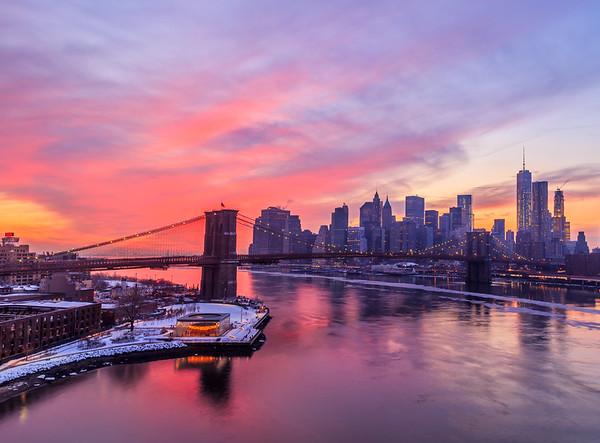Fiery Skies over Snowy New York City