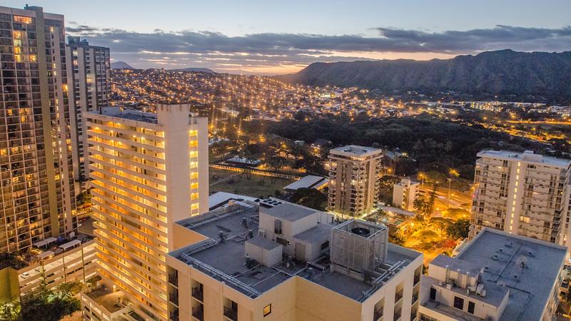 Evening Lights and Twilight Sky, Honolulu HI