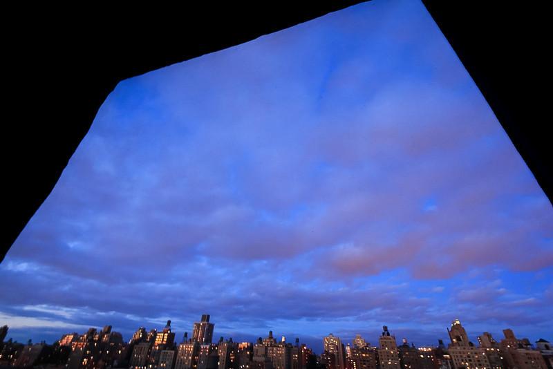 Upper East Side Skyline Framed by Window, NY