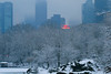 Tall Buildings, Red Lights, Snow, NY