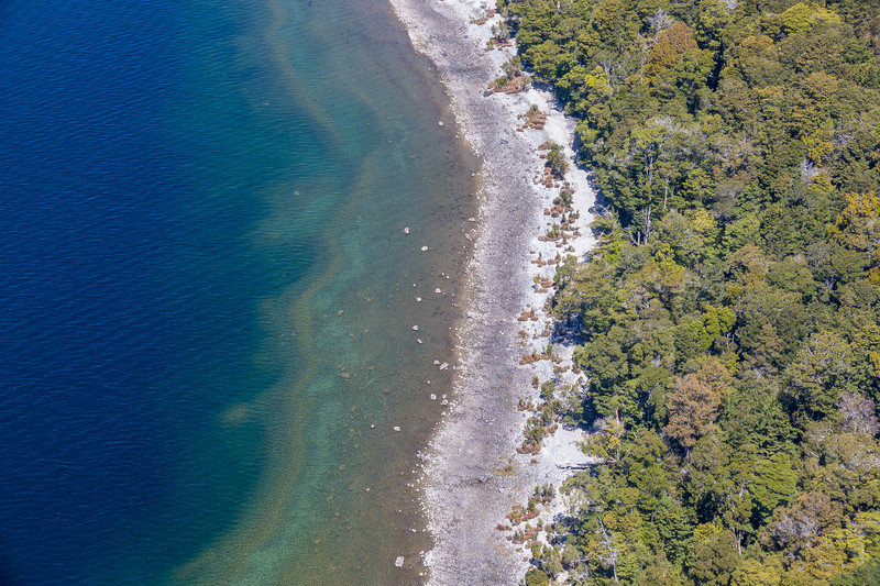 Lake Te Anau and shore from above