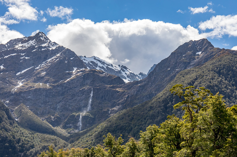 Mountains and waterfalls on the Routeburn track