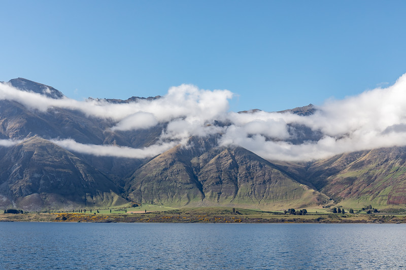 Cloudy montains near Mount Nicholas, Queenstown area