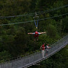 Me on the flying fox over Buller Gorge in preparation for Gravity Canyon