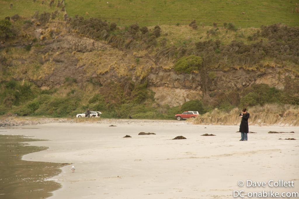 Jo walking along Murdering Beach, Dunedin