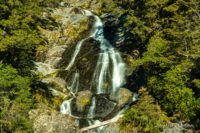 The Beautiful Fantail Falls in Mount Aspiring National Park on the Haast Highway