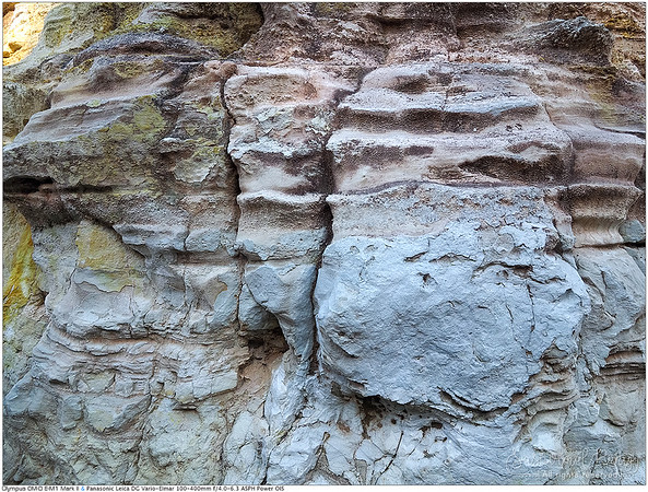The Alum Cliffs. Shallow horizontal ridges that have been eroded from hundreds of years of weathering.
