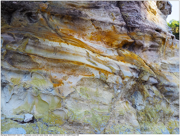 Texture of the Alum Cliffs. Shallow horizontal ridges that have been eroded from hundreds of years of weathering.