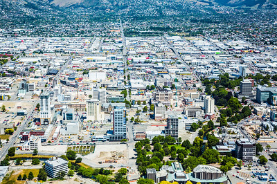 Christchurch Cebtral Business District with Sydenham and Cashmere in the background