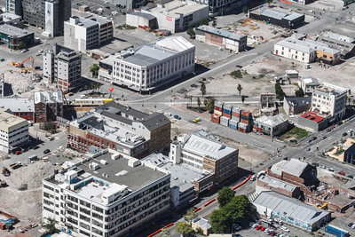 Christchurch City CBD High Street running across, intersecting with Lichfield. Old Tuam Street Council Building at bottom