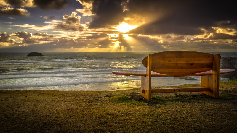 Surf board seat at Maori Bay