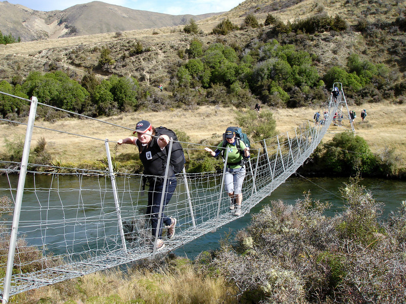 Sarah & Jodie cross the Hurunui River