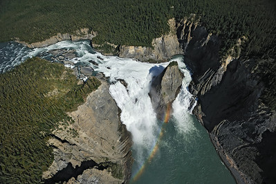 Aerial view of Virginia Falls, one of Canada's largest waterfalls. Nahanni National Park is one of the world's top paddling/canoeing rivers, and  Unesco World Heritage site. The Nahanni River is also a Canadian Heritage River. Northwest Territories (NWT) Canada.