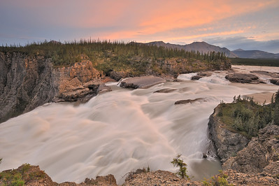 Sluice Box rapids above Virginia Falls on the Nahanni River.