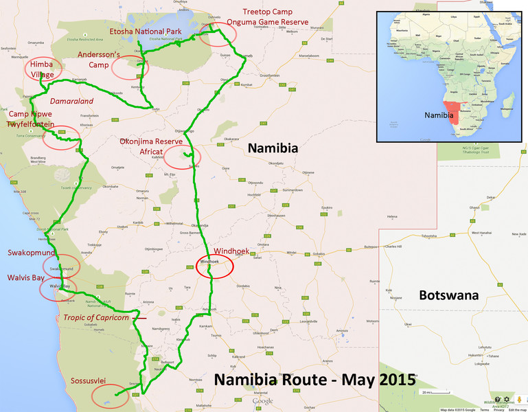 Our Namibia Safari Route Map with Ultimate Safaris