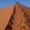 Bev climbing Dune 45, Sossusvlei, Namib Naukluft National Park