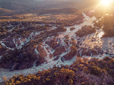 aerial Epupa Falls on the Kunene River in Namibia