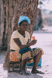 woman resting in village, Africa, Namibia