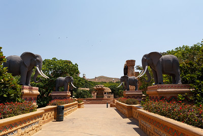 Gigantic elephant statues on Bridge in famous Lost City