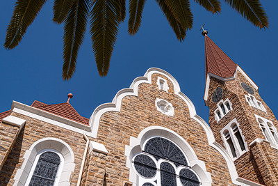 namibia, windhoek, architecture, churches, christuskirche, clock tower, stained glass, lutheran, palm leaves