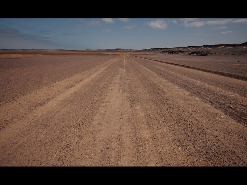 Skeleton Coast Main highway. about 800 miles.