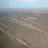 Impressive geological formations on a flight over Namibia
