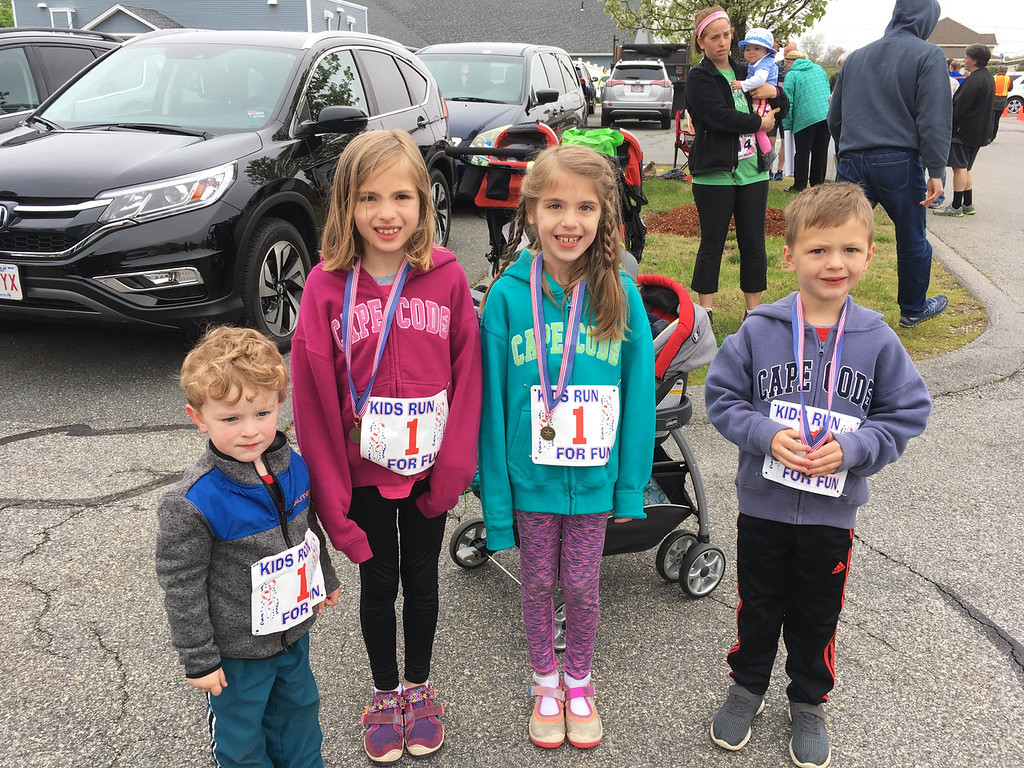 . From left, Thomas Leeds of Chelmsford, and the Kindorf kids, Annika, Cailyn and Christian, of Sterling