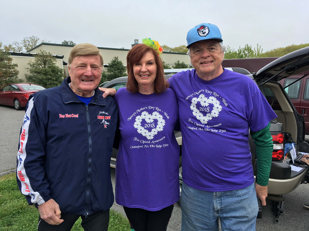 . From left, Dick Hoyt of Team Hoyt with founders and race co-directors Nancy and Don Patch of Chelmsford