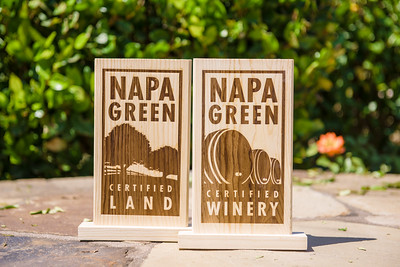 Napa Green Land and Winery wooden signs