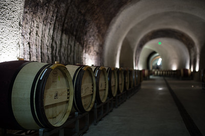 Energy efficient lighting fills wine caves at Chateau Boswell.  Photo courtesy of Napa Valley Vintners