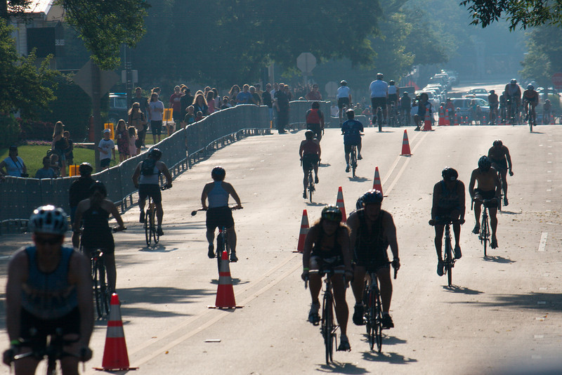 Bikers coming on the 12-mile bike course.